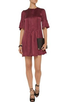 Isabel Marant Valley Pleated Washed-Silk Mini Dress