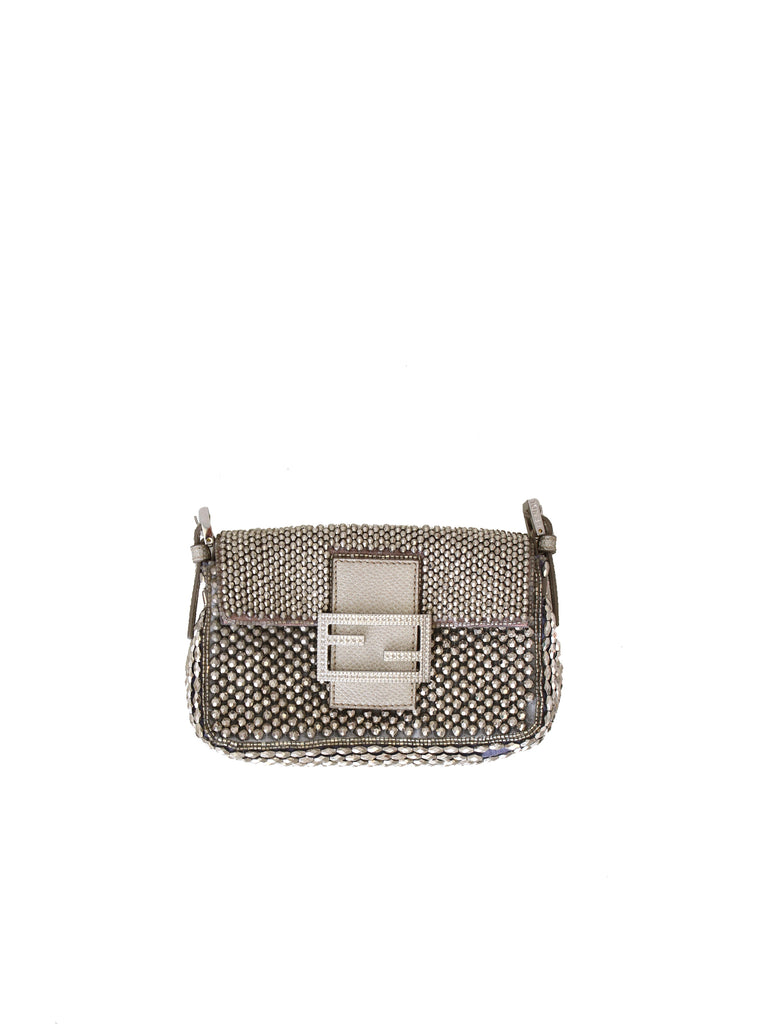 Fendi Embellished Micro Baguette Bag