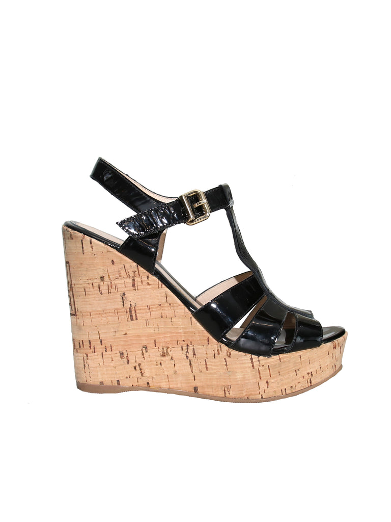 Fendi Patent Leather Cork Wedge Sandals
