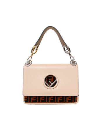 Fendi Kan I Leather and Velvet Shoulder Bag