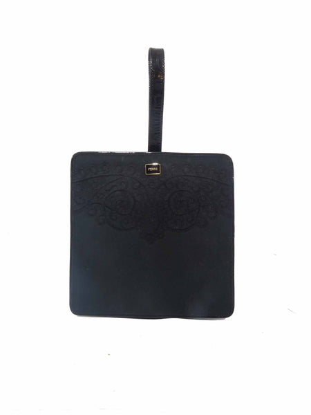 Gianfranco Ferre Vintage Patent Embroidered Square Clutch