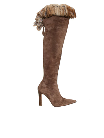 Manolo Blahnik Suede Over-The-Knee Boots