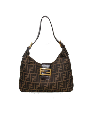 Fendi Leather Trimmed Zucca Shoulder Bag