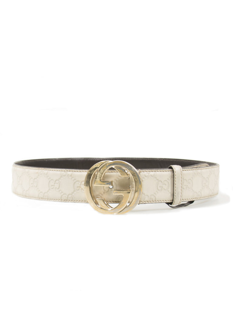 Gucci Monogram Logo Guccissima Leather Belt