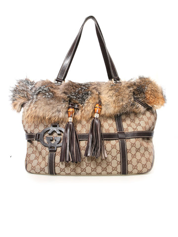 Gucci Monogram Canvas Fur Shoulder Bag
