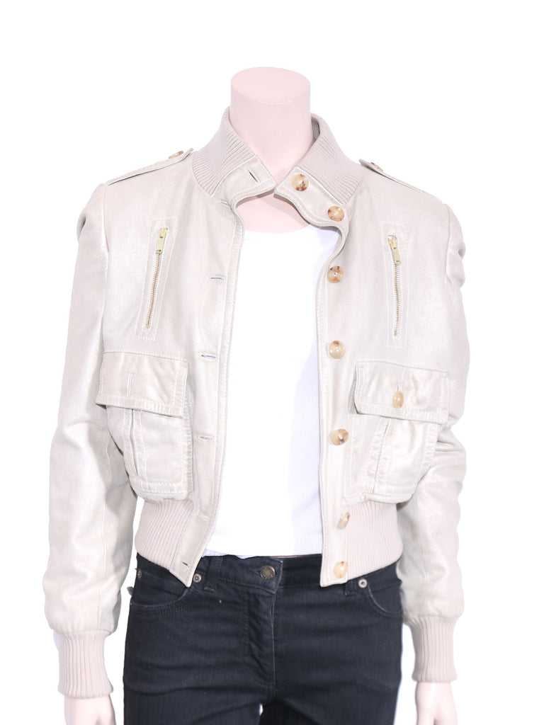 Gucci Rib Knit Trimmed Leather Jacket