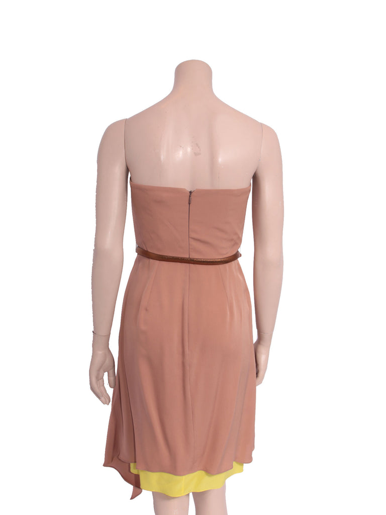 Gucci Silk Belted Strapless Dress