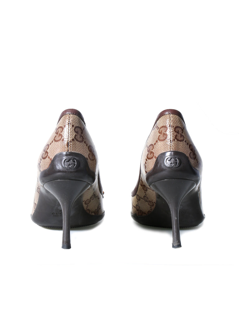 Gucci Coated Canvas GG Pumps