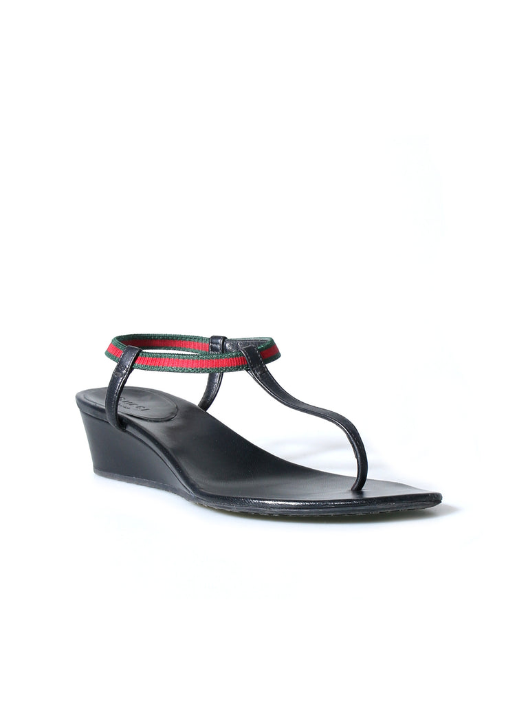 Gucci Leather Wedge Sandals