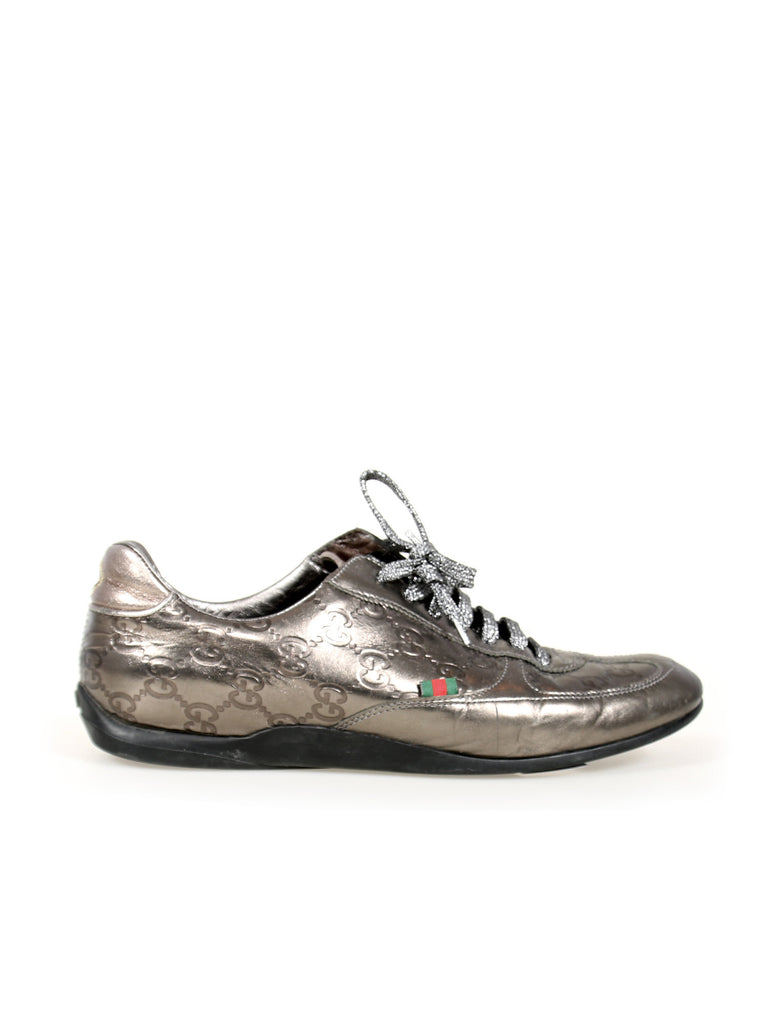 Gucci Embossed Monogram Metallic Leather Sneakers