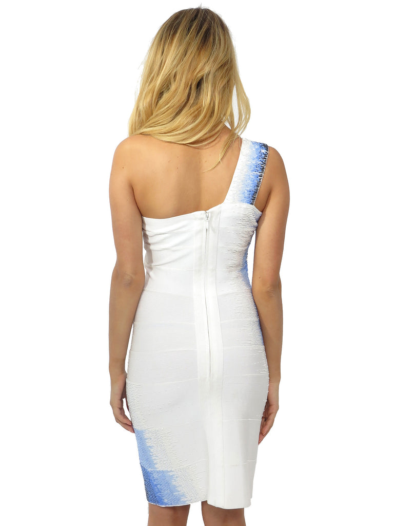 Herve Leger Beaded One-Shoulder Bandage Dress