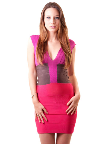 Herve Leger Color-Block Bandage Dress