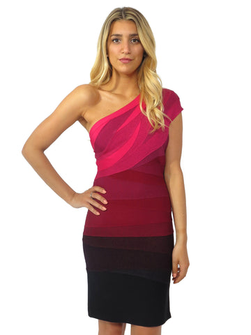 Herve Leger One-Shoulder Ombre Bandage Dress