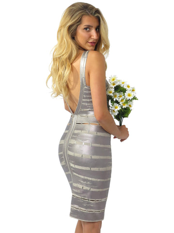 Herve Leger Metallic Foil Cut-Out Bandage Dress