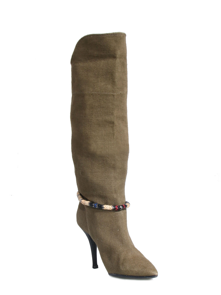 Isabel Marant Canvas Pointed-Toe Boots