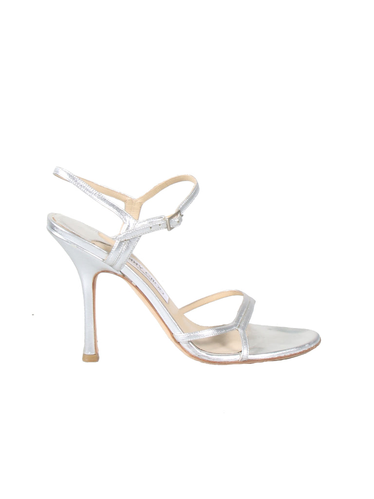 Jimmy Choo Metallic Silver Leather Sandals