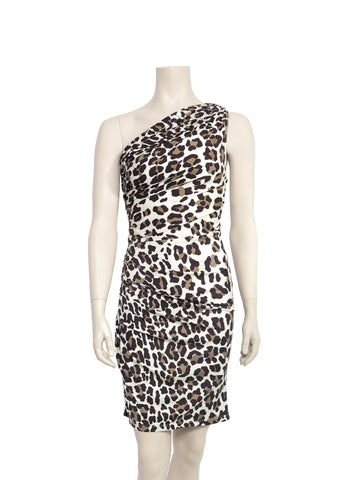 Blumarine Leopard One-Shoulder Silk Dress