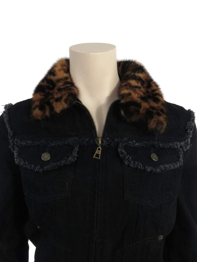 Louis Vuitton Leopard Mink Denim Jacket