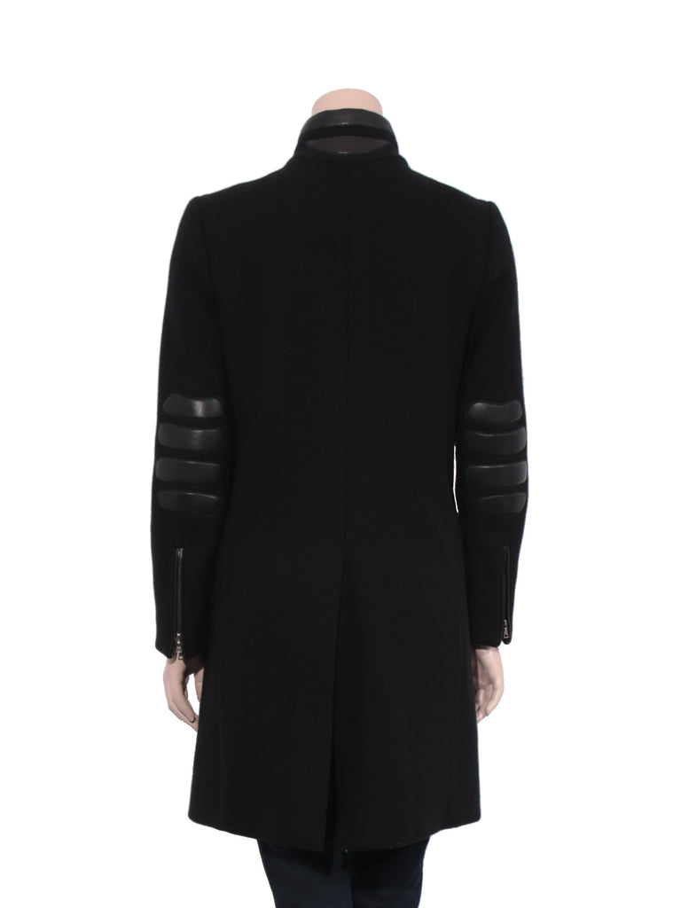 Prada Wool Leather Detail Coat