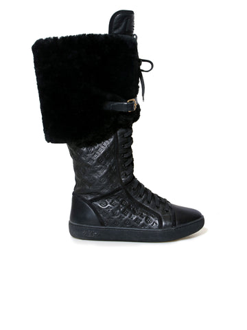 Louis Vuitton Polka Embossed Leather and Fur Tall Boots