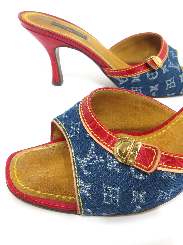 Louis Vuitton Monogram Denim Slide Sandals