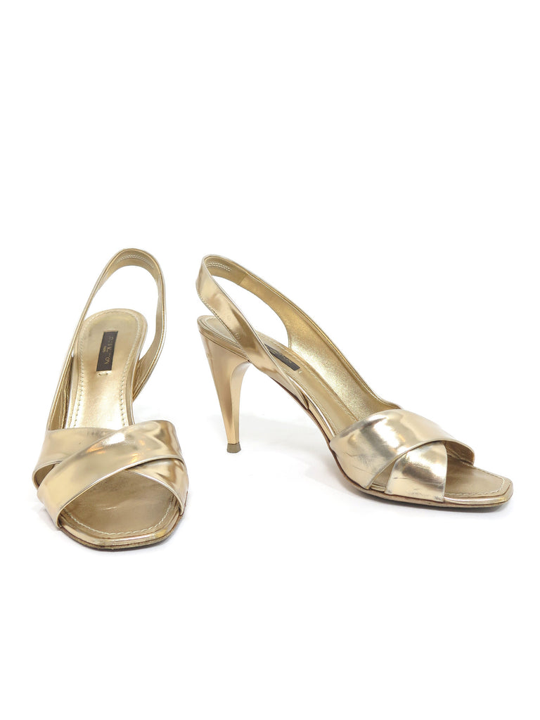 Louis Vuitton Metallic Leather Sandals