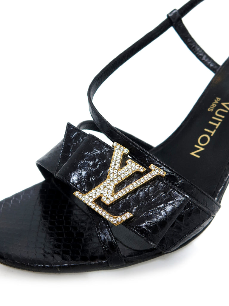 Louis Vuitton Snake-Embossed Leather Sandals