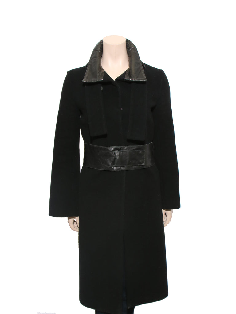 Mackage Leather Detail Wool Coat