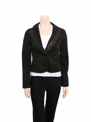 Mackage Ruffle Leather Cotton Blazer