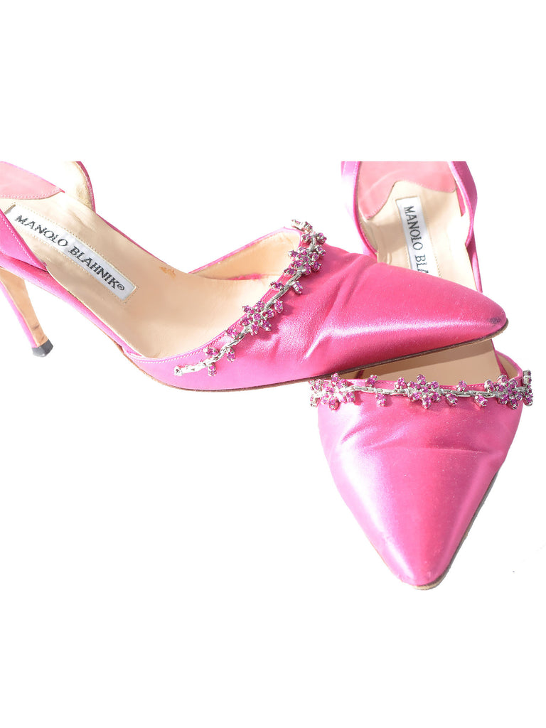 Manolo Blahnik Embellished Satin Slingbacks