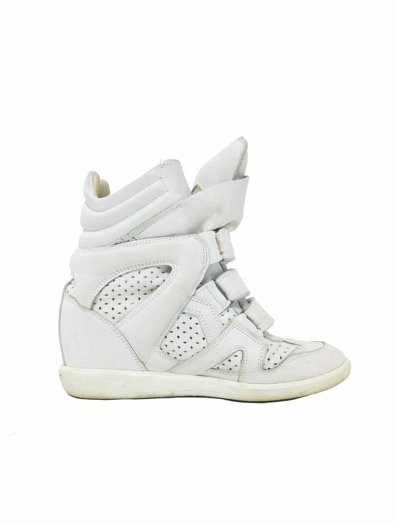 Isabel Marant Perforated High-Top Wedge Sneakers