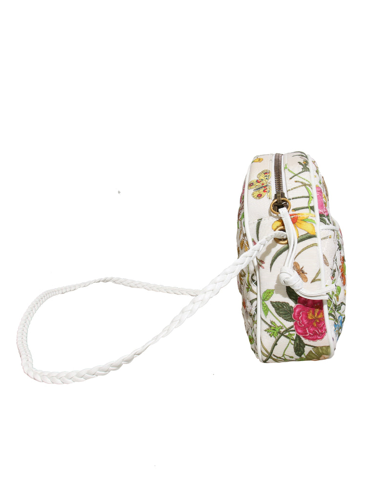 New Gucci Quilted Floral Canvas Cross Body Bag