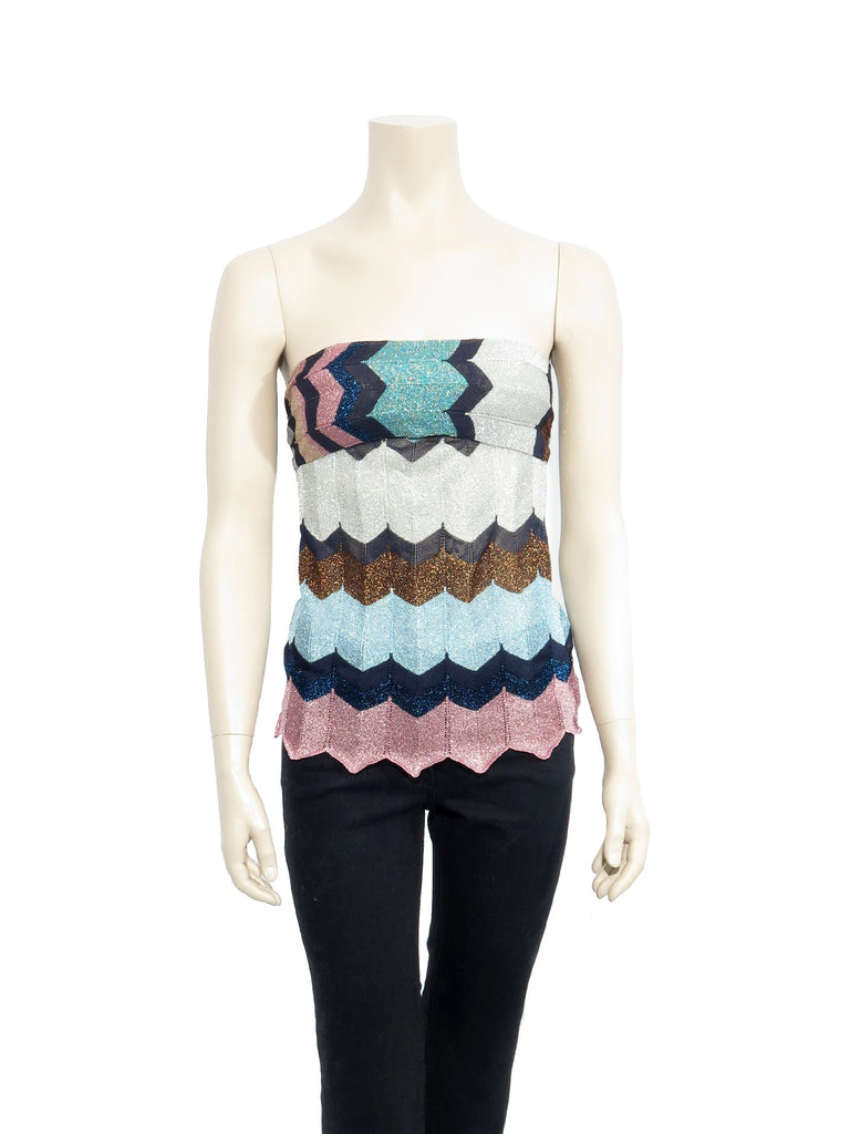 Missoni Strapless Shimmer Knit Top