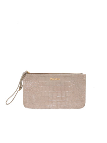 Miu Miu Embossed Leather Wristlet