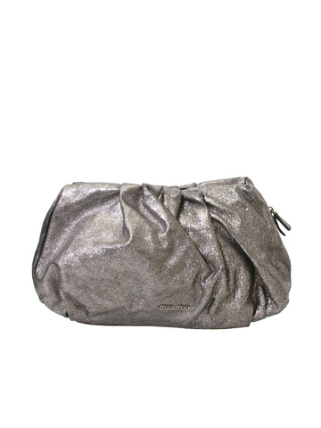 Miu Miu Metallic Leather Clutch Bag