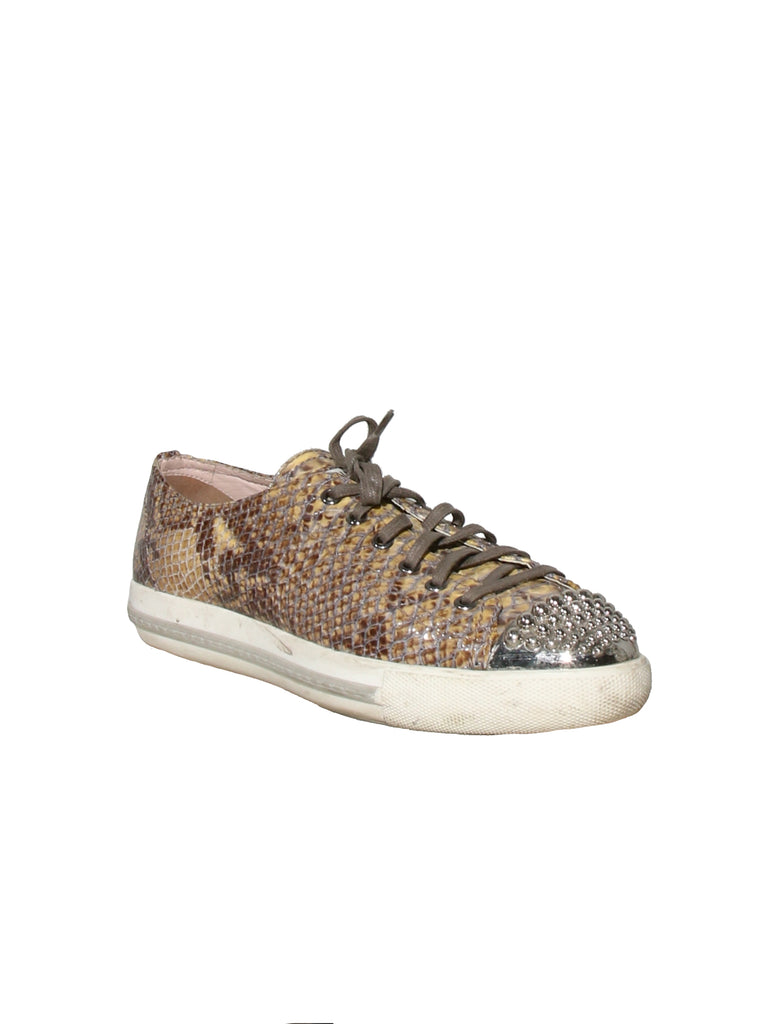 Miu Miu Snake-Print Low Top Sneakers