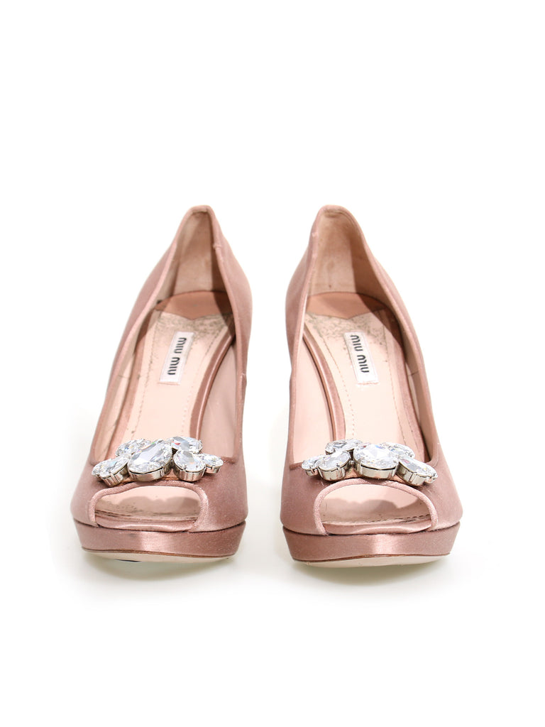Miu Miu Satin Jewel Pumps