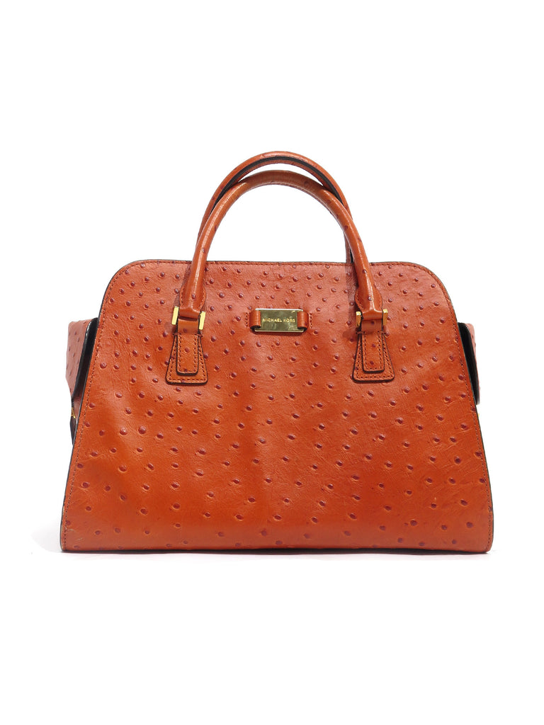 Michael Kors Gia Ostrich Embossed Leather Satchel