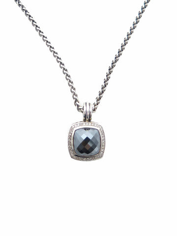 David Yurman Albion Pendant with Hematine and Diamonds and Wheat Chain Necklace