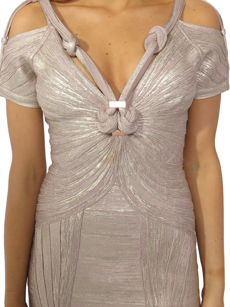 Herve Leger Olya Foil Print Knotted Bandage Dress