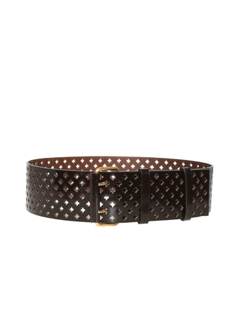Yves Saint Laurent Leather Perforated Belt