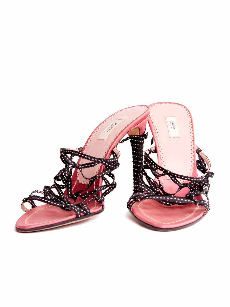 Prada Scalloped Ribbon Sandals