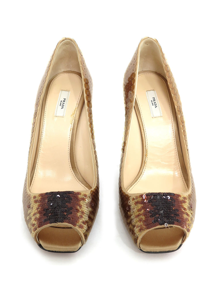 Prada Sequin Peep-Toe Pumps