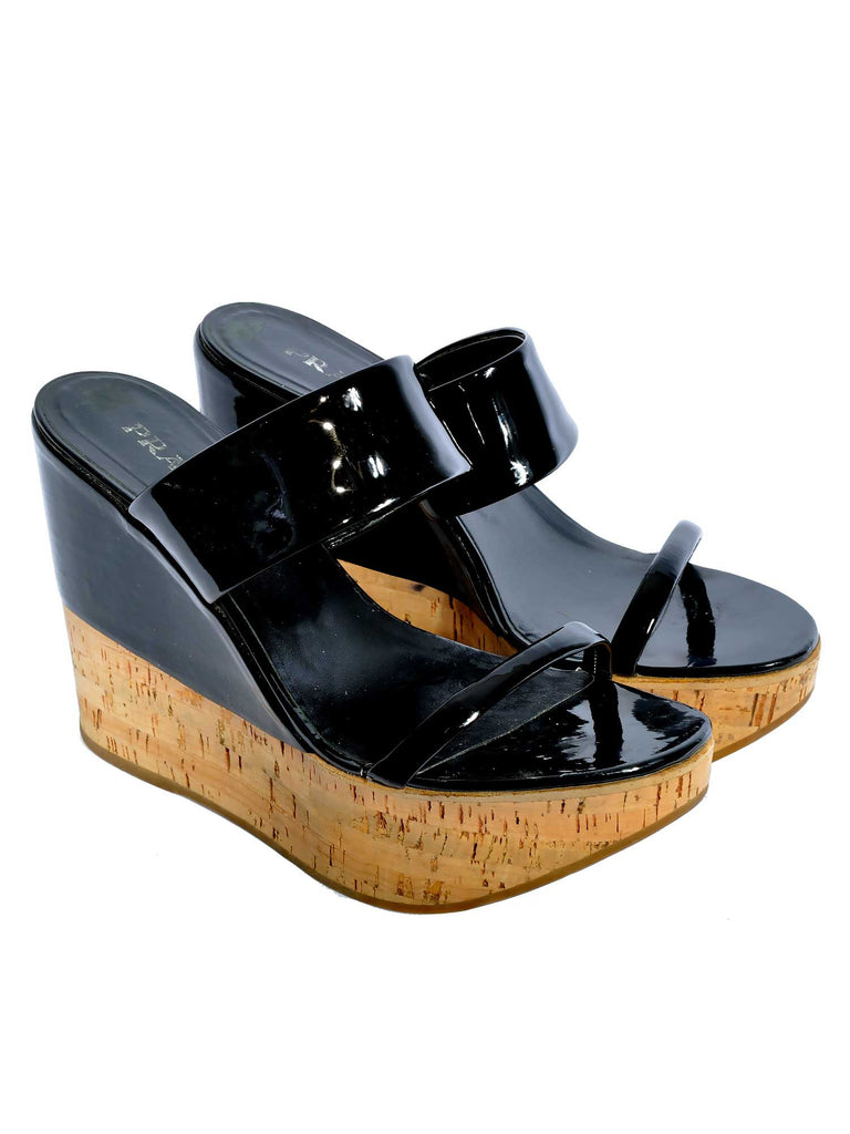 Prada Patent Wedge Sandals