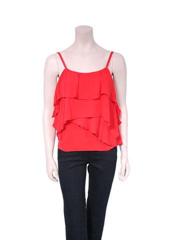 alice + olivia Silk Ruffle Top