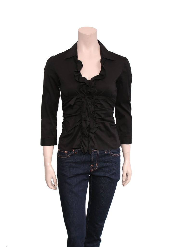 Prada Ruffle Button-Down Shirt