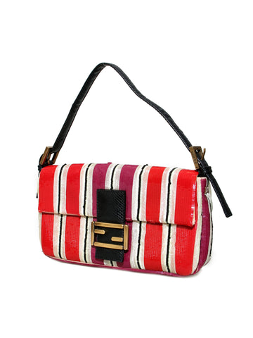 Fendi Snakeskin-Trimmed Embroidered Sequin Baguette Bag