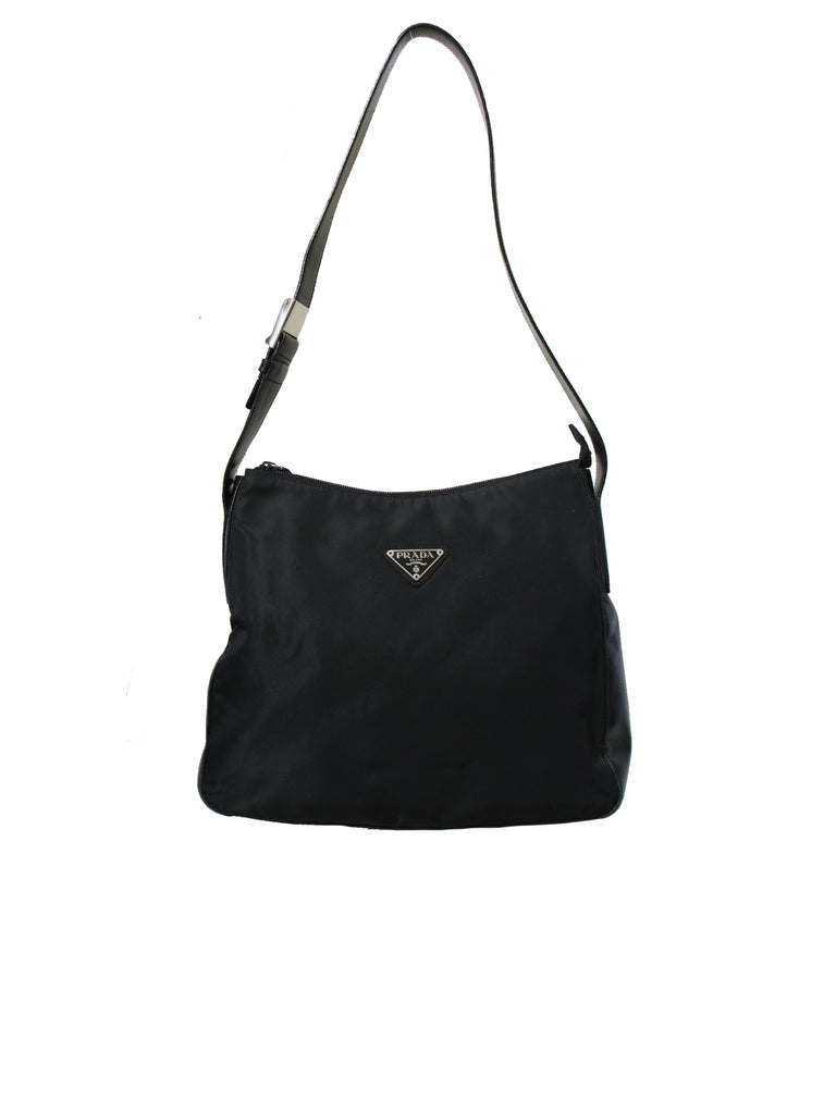 Prada Leather-Trimmed Tessuto Hobo Bag
