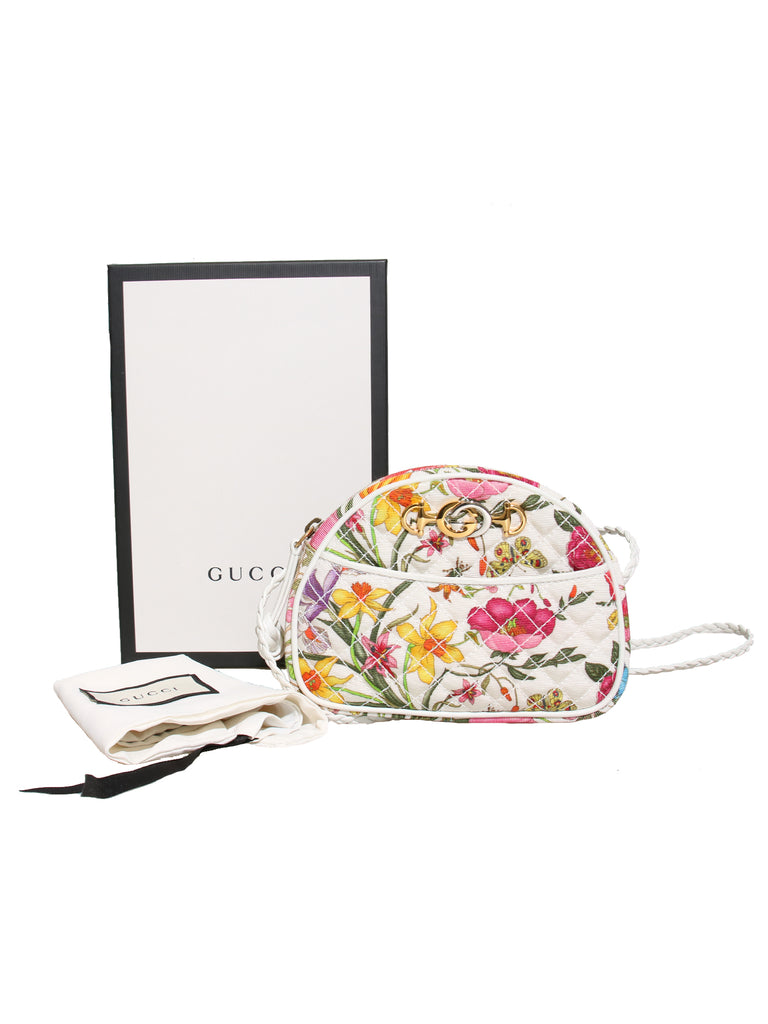 New Gucci Mini Quilted Floral Canvas Cross Body Bag