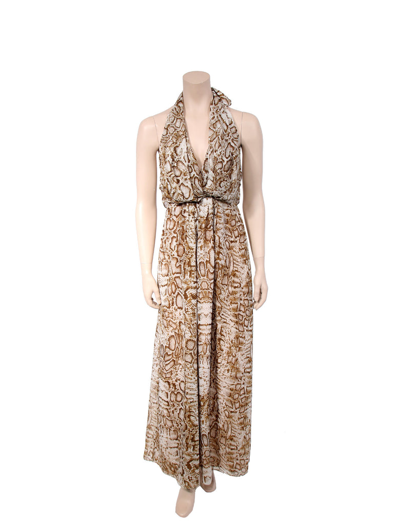 Lovers + Friends Snakeskin Print Gypsy Halter Maxi Dress